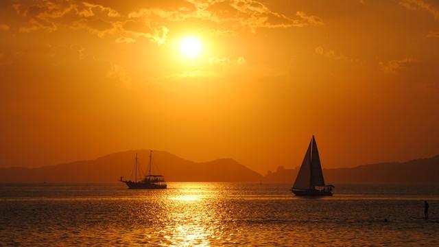 Pôr do sol na Ponta da Praia, em Santos (Foto: Diva Nicastro)