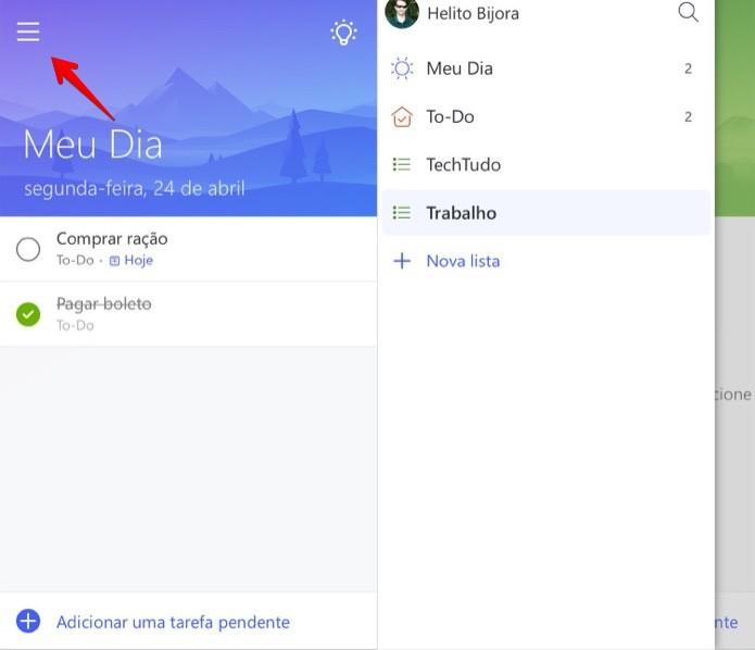 Acessando o menu do Microsoft To-Do (Foto: Reprodução/Helito Bijora)