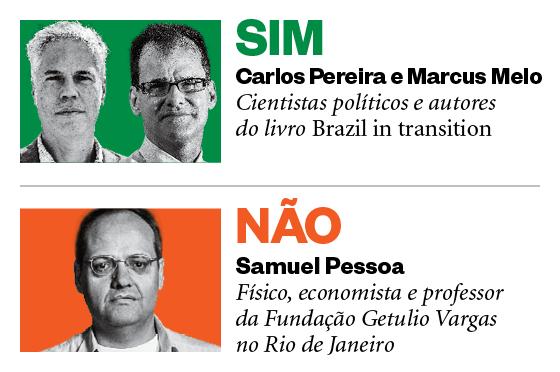 Debatedores: Carlos Pereira e Marcus Melo, e Samuel Pessoa  (Foto: Época)
