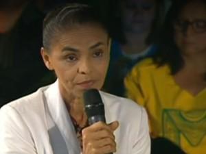 Marina Silva discursa no domingo após resultado da eleição (Foto: Reprodução/Globonews)