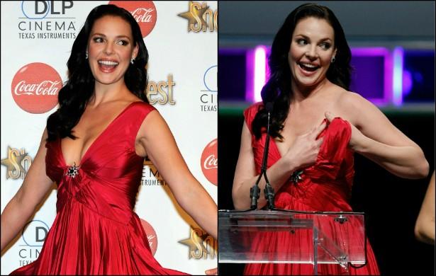 Em 2010, Katherine Heigl recebeu um prêmio e, bem na hora de discursar no púlpito, a alça do vestido da atriz acabou se desenlaçando e revelando seu seio. Heigl se recuperou rapidamente e soube rir do ocorrido. (Foto: Getty Images)