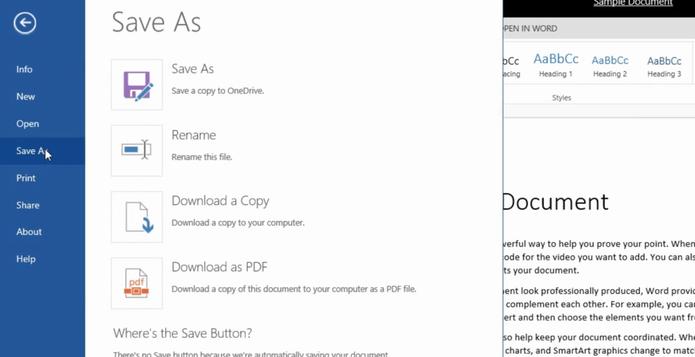 Novas opções para salvar arquivos no Office Online (Foto: Divulgação/Office)
