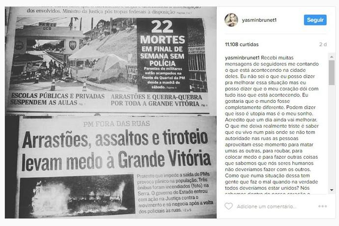 A modelo Yasmin Brunet recebido muitas mensagens relatando a crise de segurança no ES (Foto: Reprodução Internet)