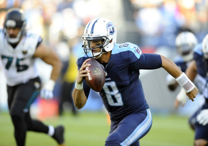 NFL Jacksonville Jaguars x Tennessee Titans Marcus Mariota  (Foto: Christopher Hanewinckel-USA TODAY Sports)