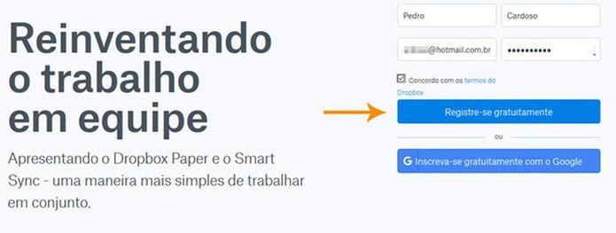 Preencha seus dados para criar uma conta (Foto: Reprodução/Pedro Cardoso)