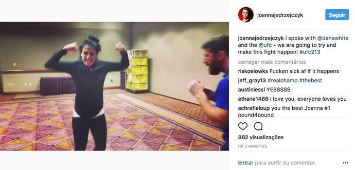Joanna Jedrzejczyk, post instagram, UFC 213 (Foto: Reprodução/Instagram)
