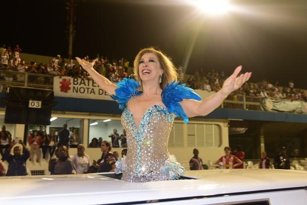 Claudia Raia no sambódromo do Anhembi, em São Paulo (Foto: Leo Franco/ Ag. News)