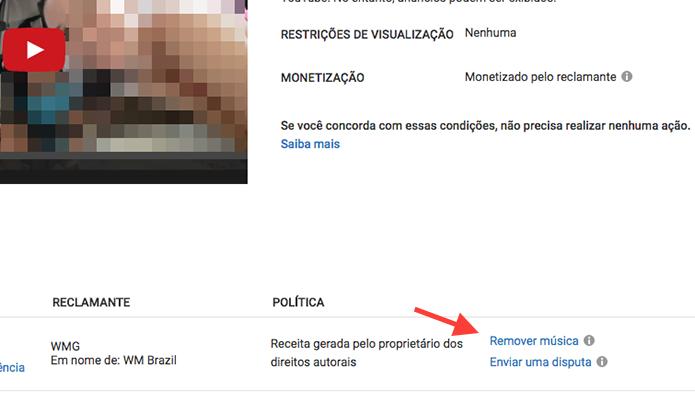 Link para acessar a opção para remover uma música protegida por direitos autorais de um vídeo no YouTube (Foto: Reprodução/Marvin Costa)