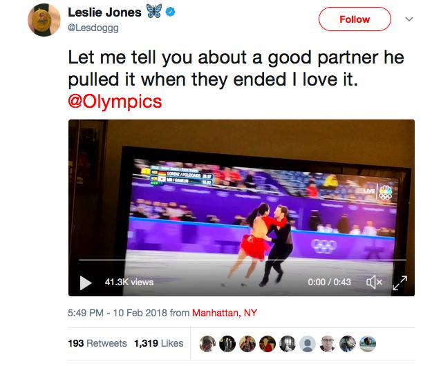 O elogio feito pela atriz Leslie Jones à patinadora coreana Yura Min e ao parceiro da atleta (Foto: Twitter)