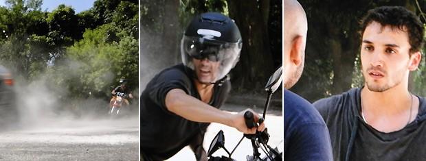 Sal leva mó fechadão dos bandidos e segura uma barra ao ser ameaçado por eles (Foto: Malhação / TV Globo)