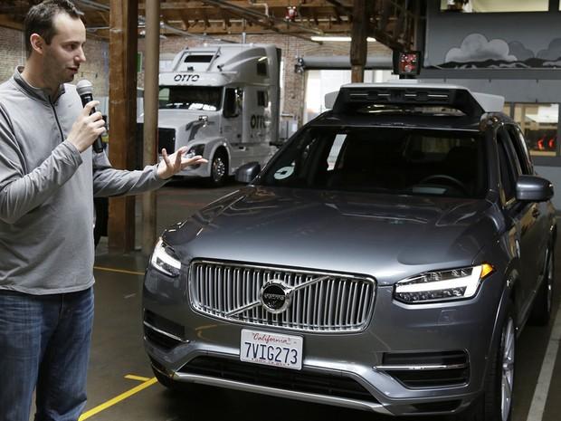 Uber passa a usar o Volvo XC90 na frota de carros autônomos, em São Francisco (Foto: Eric Risberg/AP)