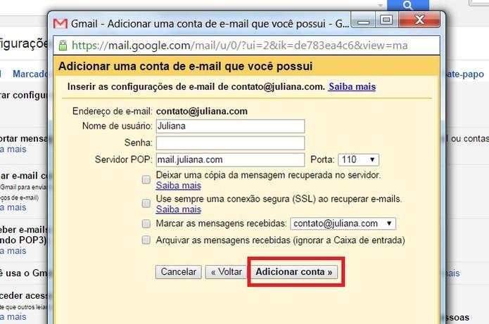 """Clique em """"Adicionar conta"""" (Foto: Reprodução/Juliana Pixinine)"""