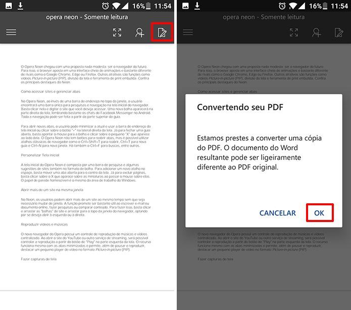 Usuário precisa tocar no botão de editar para que Word converta arquivo PDF no Android (Foto: Reprodução/Elson de Souza)