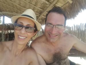 Última foto do casal antes do acidente em Barra Grande  (Foto: Nara Telles/Arquivo Pessoal)