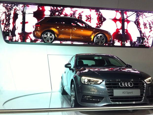 Apesar de esbanjar com esportivos no Salão, o novo A3 foi o principal lançamento que a Audi apresentou em São Paulo. O modelo acabou de estrear no Salão de Paris (Foto: Rodrigo Mora/G1)