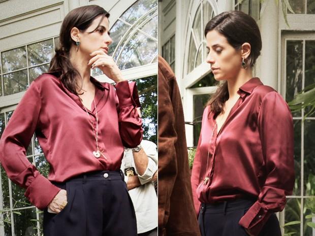 Camisa de seda de Roberta chama a atenção pelo caimento perfeito (Foto: Pedro Curi / TV Globo)