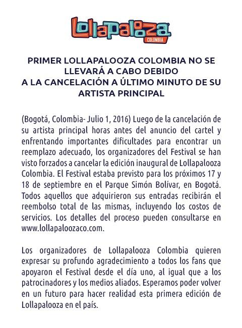 Comunicado do Lollapalooza Colmbia sobre o cancelamento do festival (Foto: Reproduo)