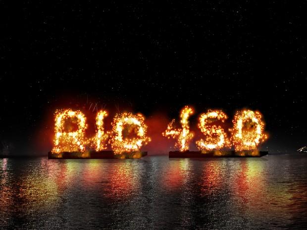 Plano é escrever 'Rio 450 anos' com fogos no mar (Foto: Divulgação)