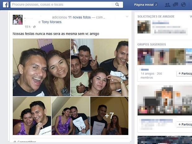 Amigos relatam momentos ao lado de Tony, nas redes sociais  (Foto: Reprodução/Facebook)