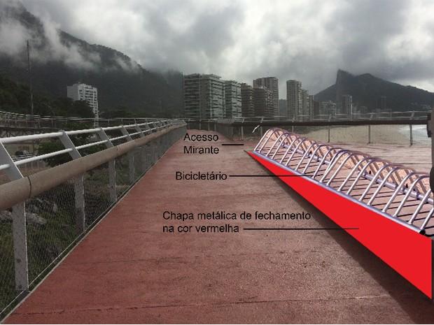 Montagem mostra como ficará a ciclovia após a instalação do bicicletário (Foto: Divulgação/Prefeitura do Rio)