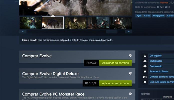 Comprando Evolve no Steam (Foto: Reprodução/Felipe Vinha)