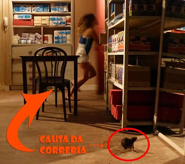 Rato invade quarto da Fatinha! (Foto: Malhação / TV Globo)