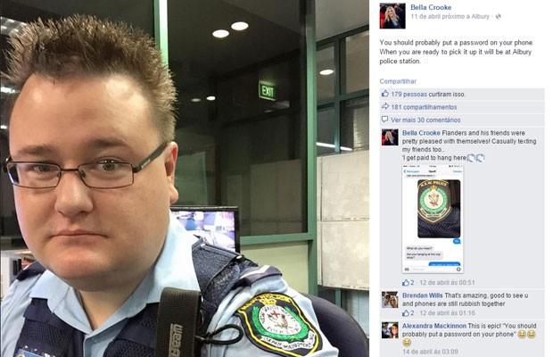 Após achar celular perdido, policial australiano entra no Facebook da dona do aparelho para dar 'lição': 'Você deveria colocar uma senha no seu celular. Quando estiver pronta para pegá-lo, ele estará na central de polícia de Albury'. (Foto: Reprodução/Facebook/Bella Crooke)