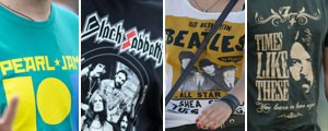 ...e as camisetas de bandas (Arte/G1)