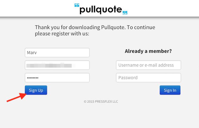 Criando uma conta no Pullquote para começar a usar a ferramenta no Google Chrome (Foto: Reprodução/Marvin Costa)