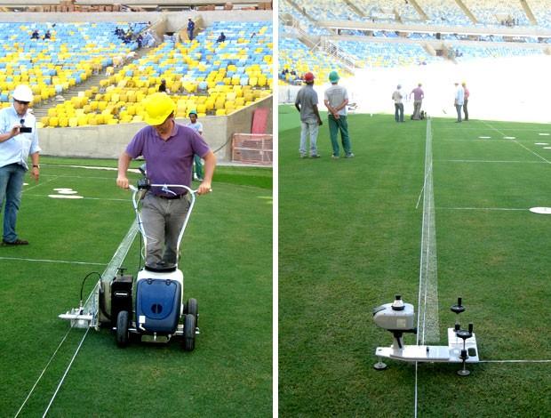 Estádio Maracanã pintura das linhas do campo (Foto: Divulgação)