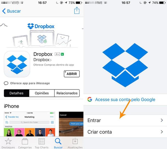 Instale o app do Dropbox no seu celular (Foto: Reprodução/Pedro Cardoso)