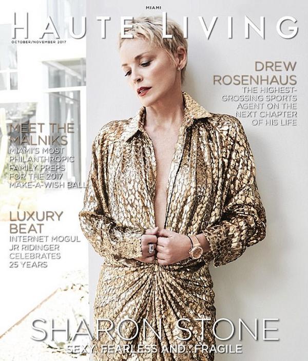 A atriz Sharon Stone na capa da revista Haute Living (Foto: Divulgação)