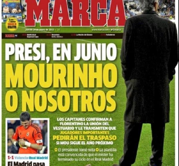 """Capa do jornal """"Marca"""" indicando a crise no Real (Foto: Reprodução)"""