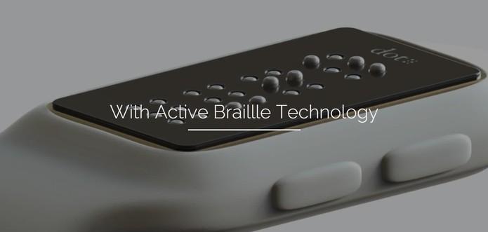 Dot é um relógio inteligente projetado com tela em Braille (Foto: Divulgação/Dot)