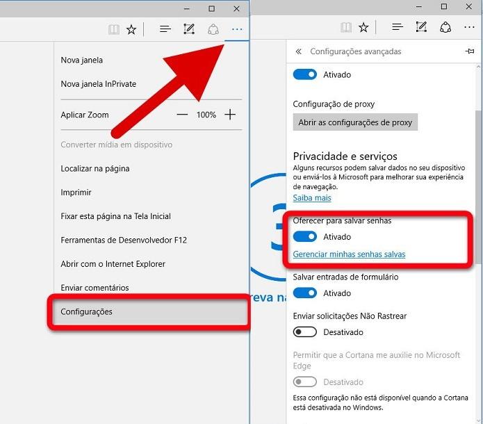 Configurando o recurso de salvamento de senhas no Microsoft Edge (Foto: Felipe Alencar/TechTudo)