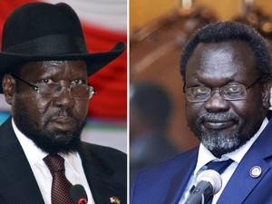 O presidente do Sudão do Sul, Salva Kiir (esquerda), em foto de 2 de junho de 2014, e seu ex-vice, Riek Machar, em foto de 9 de maio de 2014 (Foto: AFP Photo/Samir Bol/Zacharias Abubeker)