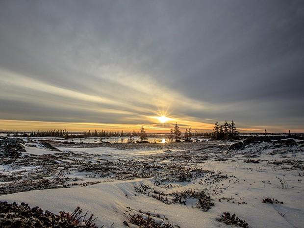 O belo cenário da cidade de Churchill, no Canadá (Foto: Gshow)