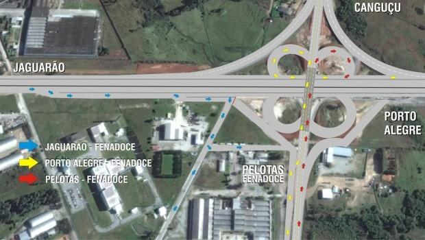Mapa mostra as vias de acesso a Pelotas e ao Centro de Eventos da Fenadoce (Foto: Divulgação/DNIT)