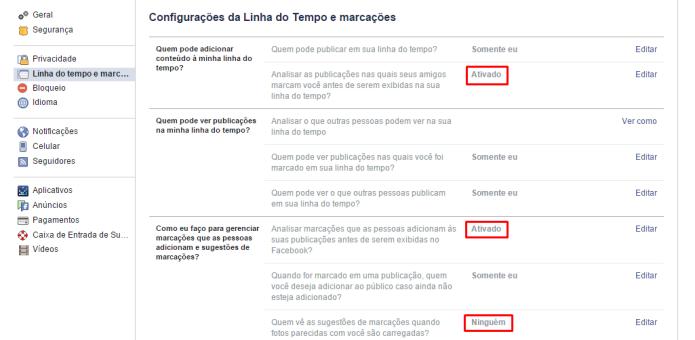 Ativando os recursos de análise de marcações no Facebook (Foto: Reprodução/Lívia Dâmaso)