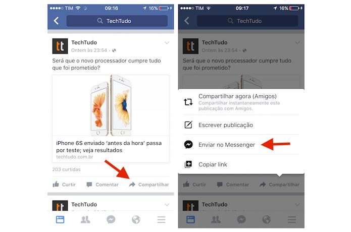 Iniciando o compartilhamento de uma publicação do Facebook com um contato do Messenger pelo iPhone (Foto: Reprodução/Marvin Costa)