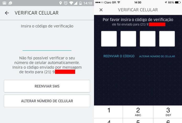 Ubere pede código de confirmação para realizar cadastro (Foto: Reprodução/TechTudo)