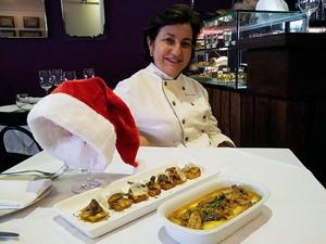 Chef Sylvia Lis ensina a receita de polenta com ragu de peru e cogumelos (Foto: Amanda Monteiro/ G1 ES)