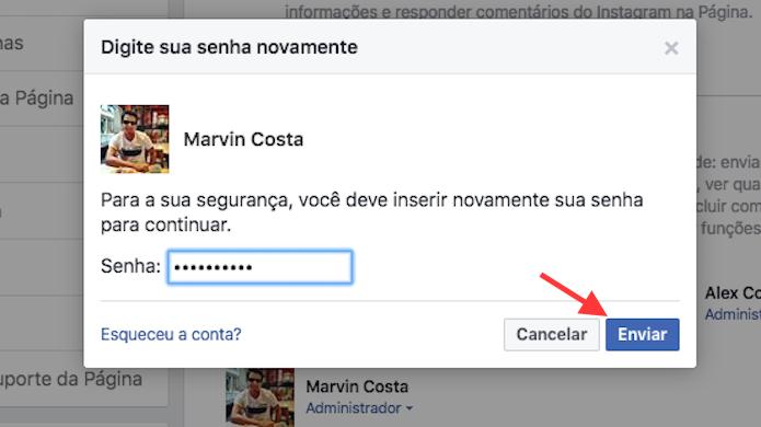 Opção para efetivar um novo moderador em uma página do Facebook (Foto: Reprodução/Marvin Costa)