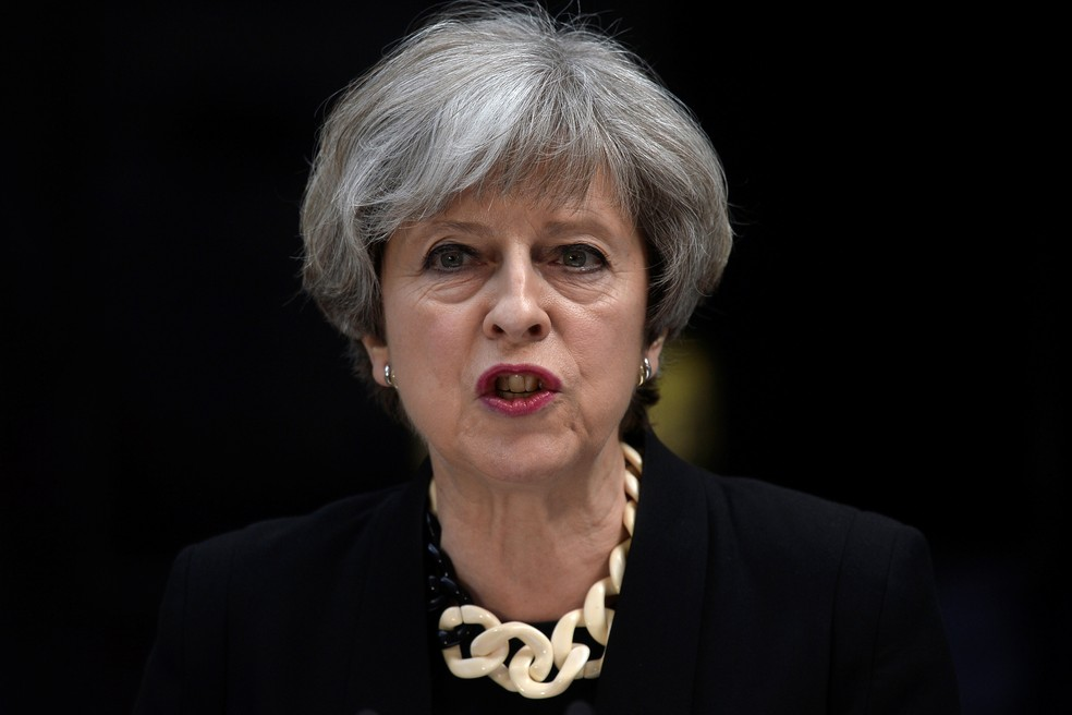 Premiê britânica, Theresa May, fala sobre ataque na região da London Bridge e do Borough Market (Foto: REUTERS/Hannah McKay)