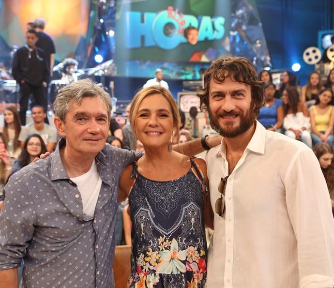 Serginho recebe Adriana Esteves e Gabriel Braga Nunes (Foto: Carol Caminha/Gshow)
