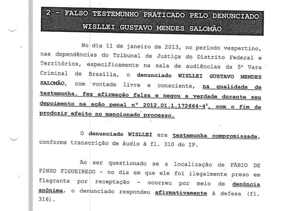 Trecho da denúncia contra o delegado do Wisllei Salomão (Foto: Reprodução)