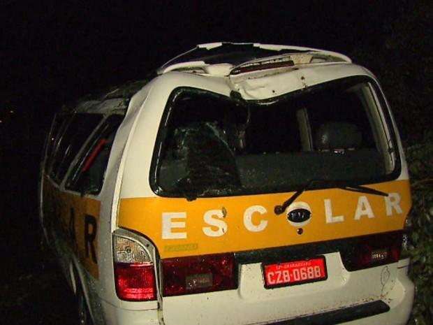Van escolar foi atingida por árvore durante chuva forte em Araraquara (Foto: Marlon Tavoni/EPTV)