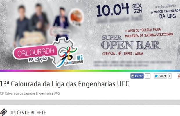 Promoção de tequila para 'mulheres de sainha' em calourada de alunos da Univerdidade Federal de Goiás gera polêmica na web (Foto: Reprodução)