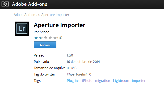 Aperture Importer pode ser baixado no site da Adobe (Foto: Divulgação)