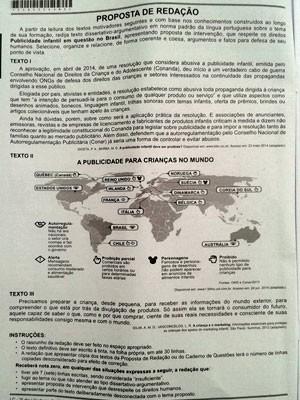 Folha do caderno do Enem com a proposta de redação sobre publicidade infantil (Foto: Reprodução)